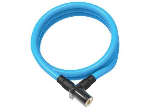 Замок OnGuard Lightweight Key Coil Cable Lock. Стальной трос 150см х 8мм, с виниловым покрытием + 2 ключа, синий