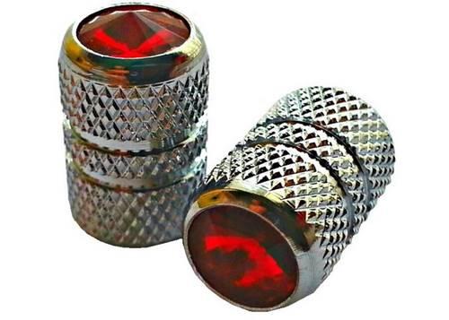 Колпачок для камеры TW V07 сереб. цвета  с диамантом красн. цвета (в комплекте 4шт) Автомобильного стандарта