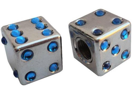 Колпачок камеры TW V-11D Игральные кости из пластика, сереб. цвета с голуб. камушками (в комплекте 4шт) Автомобильного стандарта