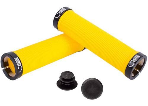Грипсы Green Cycle GGR-421 130mm желтый с двумя черными замками