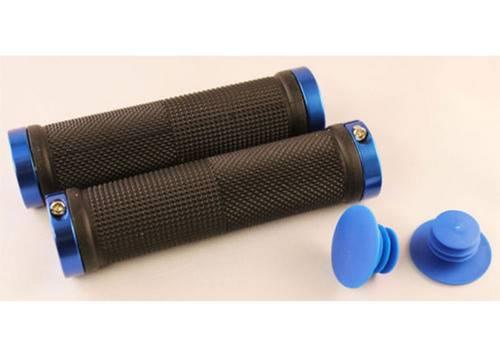 Грипсы Green Cycle GGR-424 130mm черный с двумя синими замками
