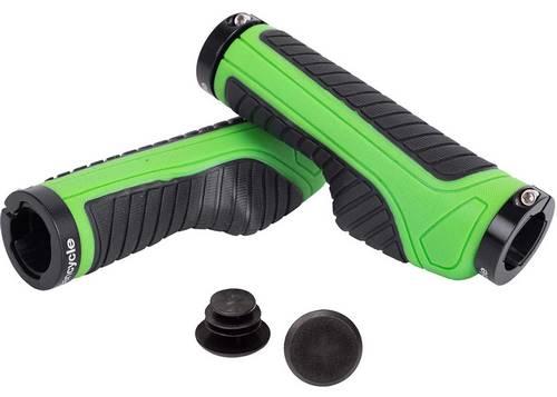 Грипсы Green Cycle GGR-523 130mm эргономичные черно-зеленые с двумя черными замками