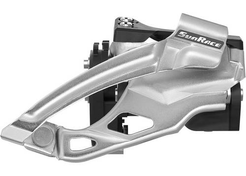 Переключатель пер. SUN RACE M966, 9S, под трансмиссию 2x9, d 34.9, адаптер под 31.8 и 28.6.