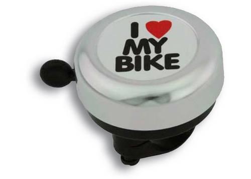 Звонок Green Cycle GBL-251 I love my bike cтальной белый