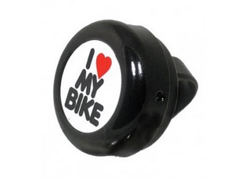 Звонок Green Cycle GBL-251 I love my bike cтальной черный