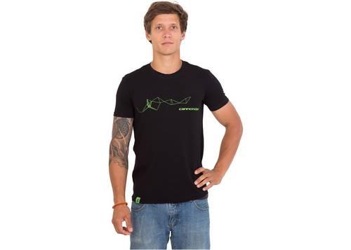 Футболка мужская Cannondale черная с зеленым динамическим орнаментом размер S