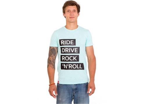 Футболка мужская голубая Ride drive rock&roll размер M