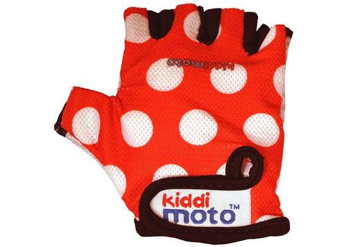 Перчатки детские Kiddimoto красные в белый горошек, размер S на возраст 2-4 года