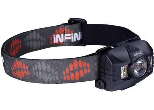 Фонарь налобный Infini HAWK 100-Black, 1 светодиод 3W белый, доп. диоды: 2x 0.5В белые + 2 красных, 7 режимов, 3xAAA, черный